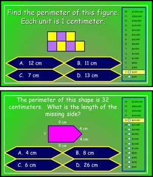 Perimeter Power Point Millionaire Game for 3rd Grade