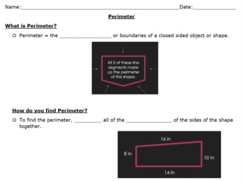 Perimeter Powerpoint and Interactive Notes - TEKS 3.7B