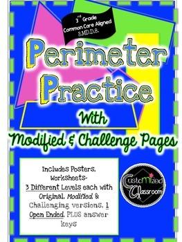 Perimeter Practice: Grade level, Modified, and Challenge 3rd Grd Common Core