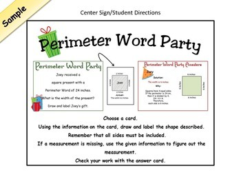 Perimeter Presents Word Problems Center Christmas