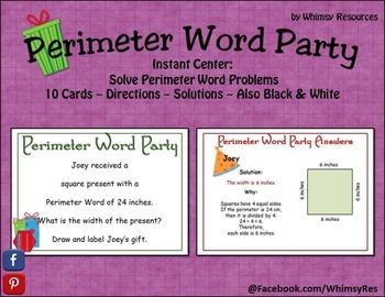 Perimeter Presents Word Problems Center Christmas