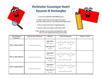 Perimeter Scavenger Hunt Rectangles and Squares