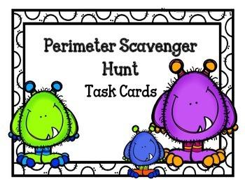 Perimeter Scavenger Hunt Task Cards.  Math Centers. Review