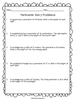Perimeter Story Problems