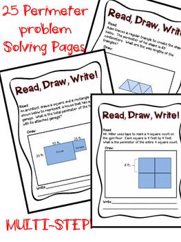 Perimeter Story Problems Book Multi Step 3rd grade Commoon Core Test Prep!
