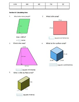Perimeter, Surface Area, Volume Practice Test