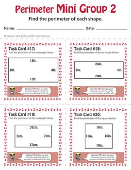 Perimeter Task Cards – Differentiated Math Problems – Common Core Aligned