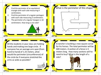 Perimeter Task Cards (Metric) - Real Life & Applicable Gr 3-5