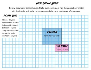 Perimeter Task Cards and Dream Home Activity: Grades 3-4