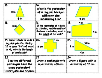 Perimeter Task Cards for CCSS 3.MD.8