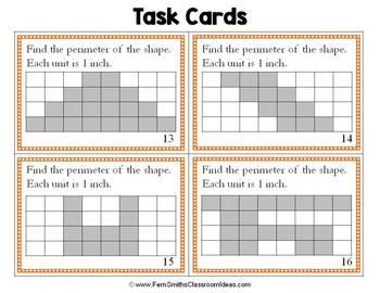 3rd Grade Go Math 11.1 Perimeter Task Cards for Perimeter of Shapes