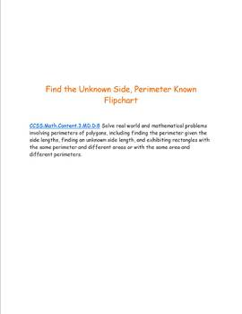 Perimeter- Unknown Sides, Perimeter Known Flipchart- CCSS aligned 3.MD.D.8