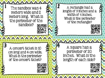 Perimeter Word Problem Task Cards - Set of 32 Common Core Aligned 3.MD.D.8