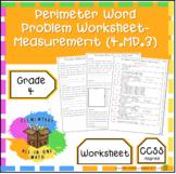 Perimeter Word Problem Worksheet - 4th Grade Measurement (4.MD.3)