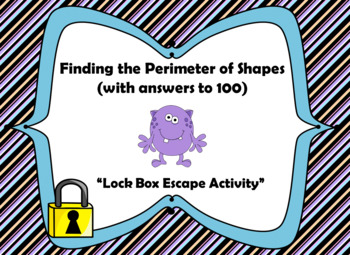 Perimeter Word Problems (Answers Up to 100)-Lock Box Escape Room