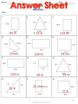 FREE - Perimeter Worksheet