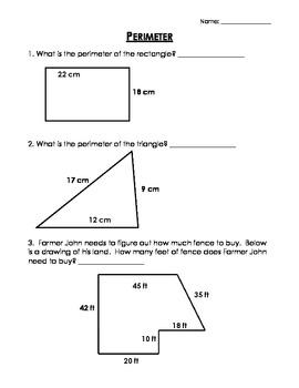 Perimeter Worksheet Homework