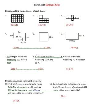 Perimeter Worksheet Practice