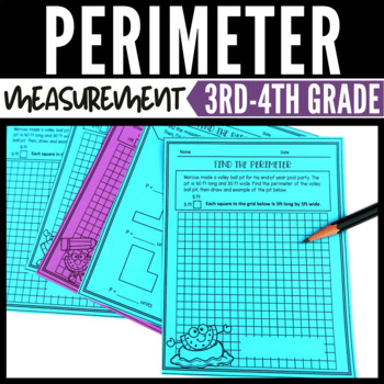 Perimeter Worksheets and Task Cards - Summer Themed