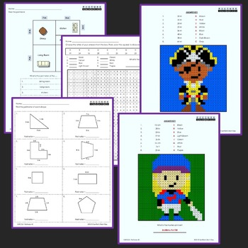 Perimeter and Area Word Problems and Worksheets Mystery Pictures