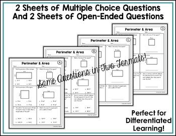 Perimeter and Area Worksheets