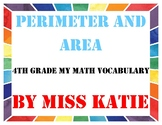 Perimeter and Area 4th Grade My Math Vocabulary