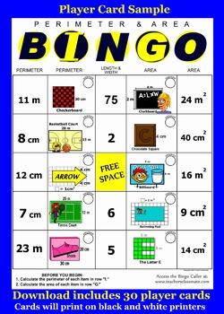 Perimeter and Area Bingo with Online Bingo Caller for Interactive Whiteboards