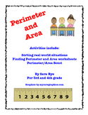Perimeter and Area Worksheets, Scoot, Drawing activity and more!!