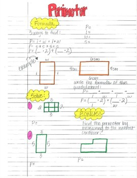 Perimeter and Area Doodle Notes