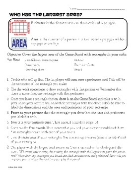 Perimeter and Area Game: Who Has the Largest Area?