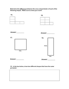Perimeter and Area Math Questions