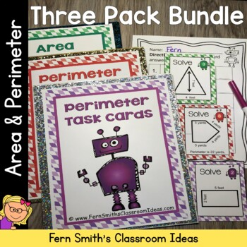 Perimeter and Area Center Games, Printables and Task Cards Bundle