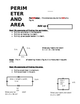 Perimeter and Area Notes