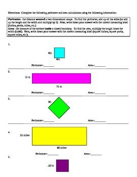Perimeter and Area Organizers 1-2