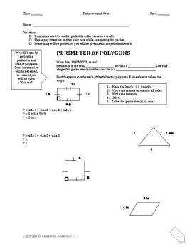 Perimeter and Area Packet