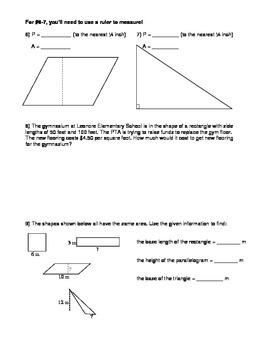 Perimeter and Area Practice Worksheet