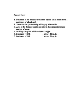 Perimeter and Area Quiz