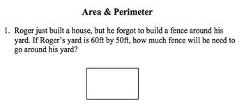 Perimeter and Area Quizzes/Homework