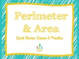 Perimeter and Area Review Powerpoint Lesson with Practice Problems