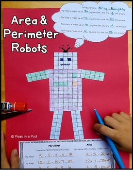 Area and Perimeter Robot Activities - measurement & geometry