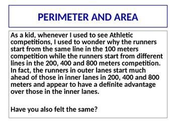 Perimeter and Area - Sample Presentation