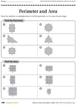 Perimeter and Area (Take It to Your Seat Centers Common Core Math)