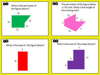 Perimeter and Area Task Cards TEKS 3.6C, 3.6D. 3.7B , CCSS 3.MDC.5 , 3.MDD.8