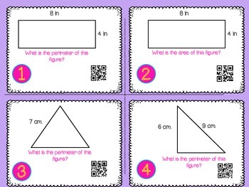 Perimeter and Area Task Cards with QR Codes