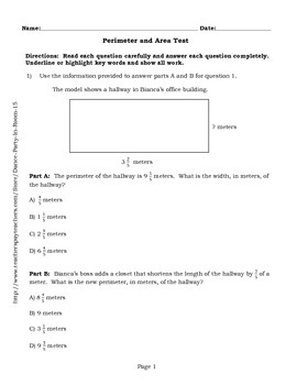 Perimeter and Area Test 3rd, 4th, 5th Grade Common Core Alligned