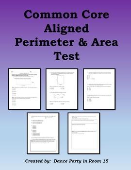 Perimeter and Area Test 3rd, 4th, 5th Grade Common Core Alligned