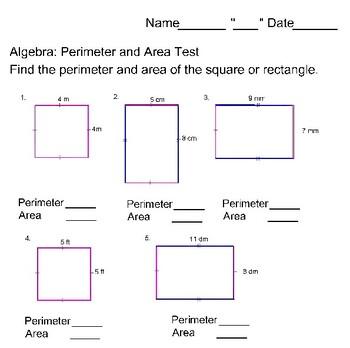 Perimeter and Area Test