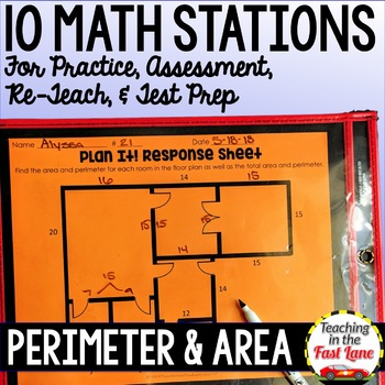 Perimeter and Area Test Prep Math Stations