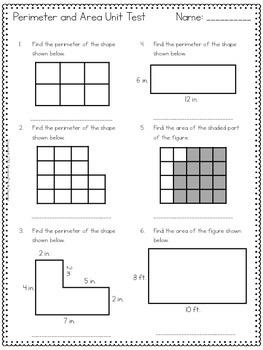 Perimeter and Area Unit Assessment- 3rd Grade Common Core ...