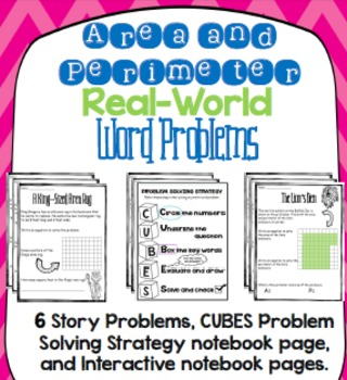 Perimeter and Area Word Problems, Notebook Pages, and Problem Solving Strategy